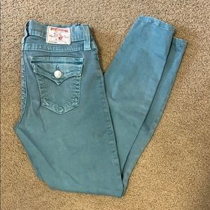 True Religion size 28 teal jeans 27 inseam EUC